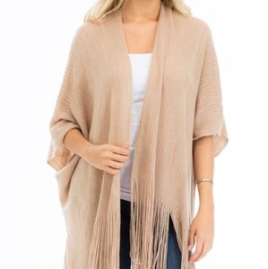 Fringe Trim Sweater Knit Poncho/Cardigan Ivory